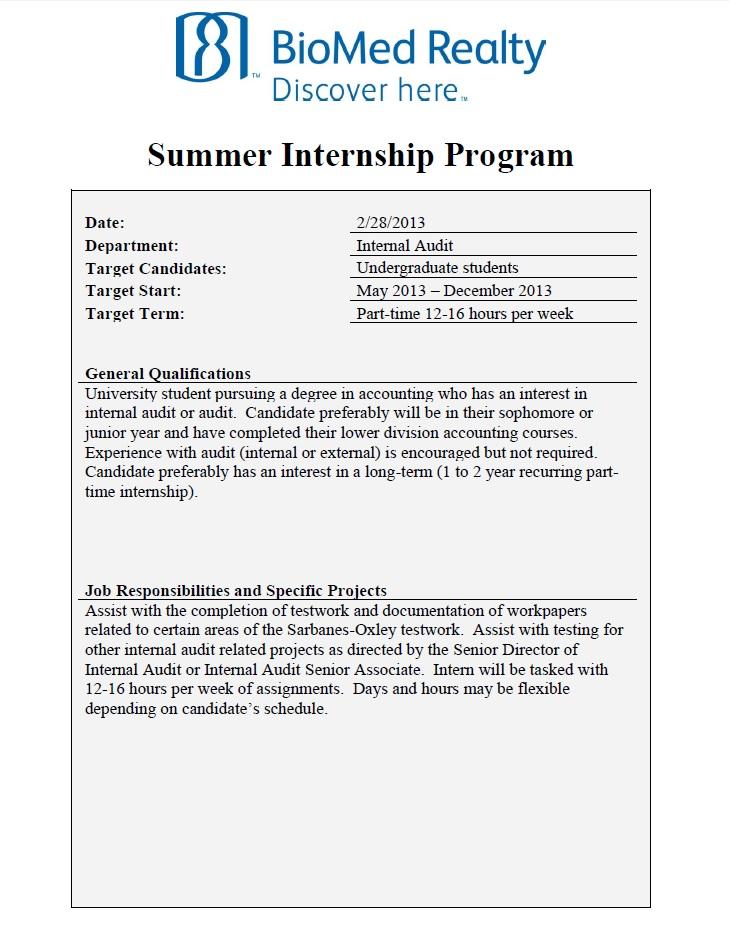 audit internship resumes