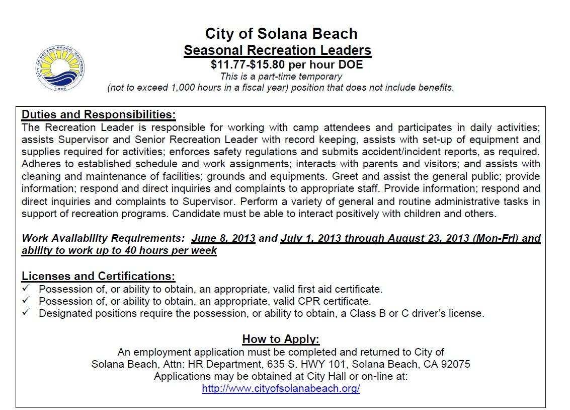 seasonal recreation leader with city of solana