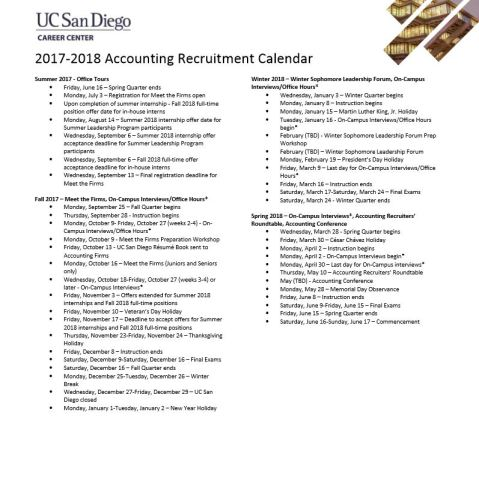 2017 2018 accounting recruitment calendar from ucsd career center