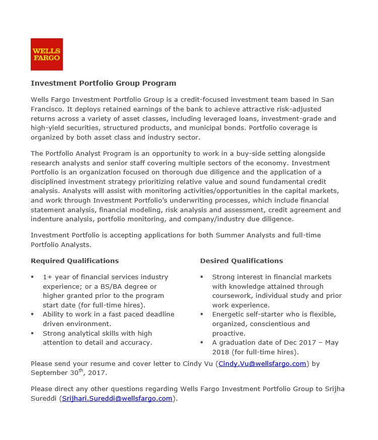 Wells Fargo Investment Portfolio Group Program Undergrad