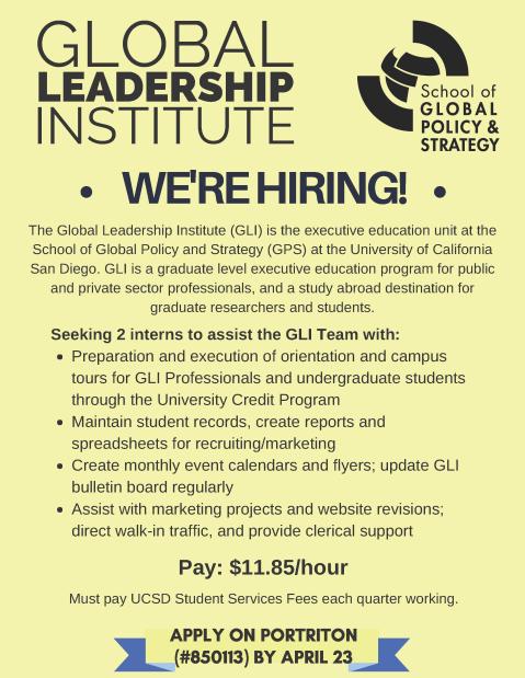 GLI Intern Position Announcement 2018