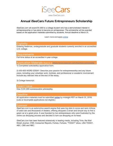 iSeeCars Scholarship Flyer sm