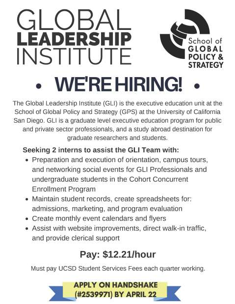 GLI Student Intern flyer 2019